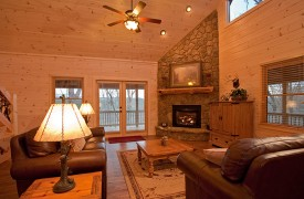 A Rivers Bend | Cabin Rentals of Georgia | Stunning Gas Fireplace