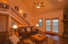 A Rivers Bend | Cabin Rentals of Georgia | Great Room With French Doors