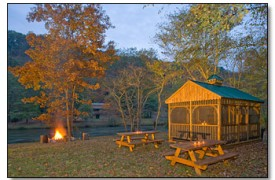 Riverview Lodge | Cabin Rentals of Georgia | Picnic Area With Fire Pit