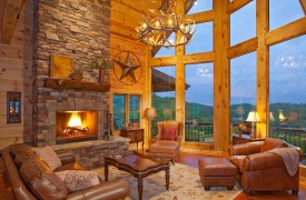 Outlaw Ridge | Cabin Rentals of Georgia | Living Room With Window Wall