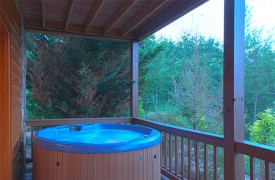 Skydance | Cabin Rentals of Georgia | Covered Terrace Level With Hot Tub