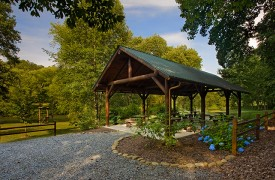 A Rivers Bend | Cabin Rentals of Georgia | Outdoor Pavilion Along River
