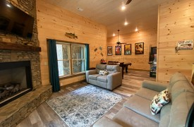 Lazy Creek Retreat | Cabin Rentals of Georgia | Terrace Level Living Area and Game Area