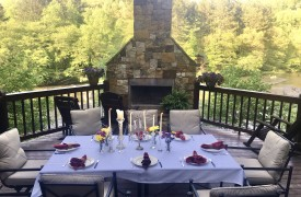 The River's Edge | Cabin Rentals of Georgia | Formal Alfresco Dining by the River