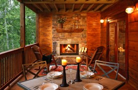 A Rolling River Cabin | Cabin Rentals of Georgia | Elegant Covered Porch