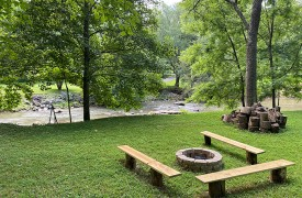 Lazy Creek Retreat | Cabin Rentals of Georgia | Large Flat Yard w/ Fire Pit and 214 ft. Creek Frontage