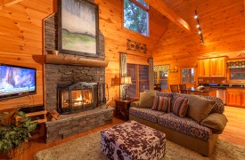 Blue Horizon Lodge | Cabin Rentals of Georgia | Cozy Living Area