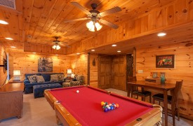 Blue Horizon Lodge | Cabin Rentals of Georgia | Terrace Level Game Room