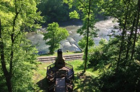 The River's Edge | Cabin Rentals of Georgia | Summertime Along the Toccoa River with Outdoor Fireplace
