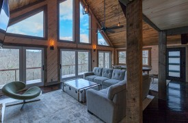 River Heights Lodge | Cabin Rentals of Georgia | Living Area w/ Mountain and Toccoa River Views