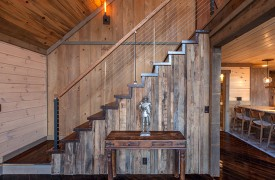 River Heights Lodge | Cabin Rentals of Georgia | Custom Staircase up to Loft