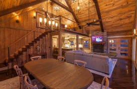 River Heights Lodge | Cabin Rentals of Georgia | Gracious Entertaining in Open Floor Plan