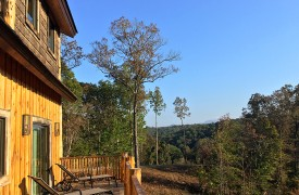 A Mayfly Lodge & Treehouse | Cabin Rentals of Georgia | Back Exterior with mountain views