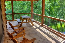 Lazy Creek Retreat | Cabin Rentals of Georgia | Covered Deck on Main Level w/ Picnic Tables