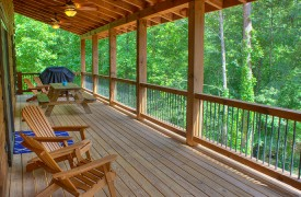 Lazy Creek Retreat | Cabin Rentals of Georgia | Covered Deck on Main Level w/ Gas Grill and Seating