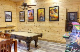 Lazy Creek Retreat | Cabin Rentals of Georgia | Game Room w/ Pool Table and Arcade Games