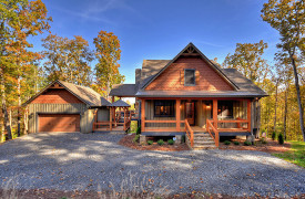 A Rustic Elegant Retreat | Blue Ridge Luxury Cabin Rentals | Cabin Rentals of Georgia | Front Exterior with fall foliage
