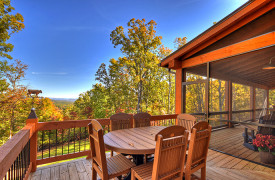 A Rustic Elegant Retreat | Blue Ridge Luxury Cabin Rentals | Cabin Rentals of Georgia | Alfresco dining for 6 overlooking mountain views in the fall