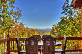 A Rustic Elegant Retreat | Blue Ridge Luxury Cabin Rentals | Cabin Rentals of Georgia | alfresco dining w/ mountain views