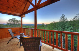 Heartwood Lodge | Cabin Rentals of Georgia | Upstairs King Suite Private Covered Porch