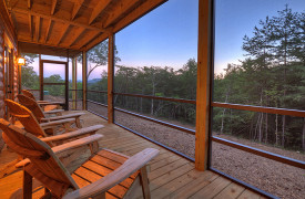 Heartwood Lodge | Cabin Rentals of Georgia | Terrace Level Screened-in Porch