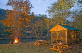 A Mayfly Lodge & Treehouse | Cabin Rentals of Georgia | Picnic Area along the Toccoa River with fire pit