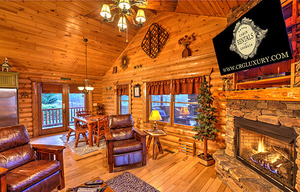 Blue Ridge Lakewalk | Blue Ridge Luxury Cabin Rentals | Cabin Rentals of Georgia | Cozy Living Area w/ Fireplace and TV