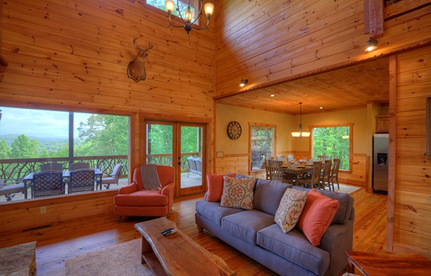 High Hopes | Cabin Rentals of Georgia | Living Area w/ Picture Window Mountain Views