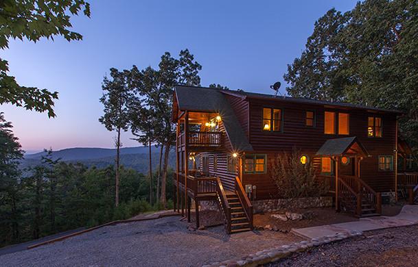 Blue Ridge Bliss | Cabin Rentals of Georgia | Exterior at Dusk