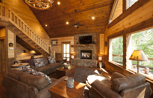 Aska Escape Lodge | Exterior | Cabin Rentals of Georgia | Covered Deck | Outdoor Fireplace